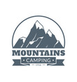mountain emblem mountains camping and adventure vector image