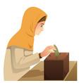 muslim woman making money donation vector image