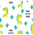 pattern cute dinosaur isolated vector image vector image