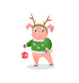 pig in deer horns and knitted sweater new year vector image vector image