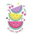 poster with cute watermelon vector image