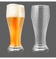 realistic beer glasses empty mug and full vector image vector image