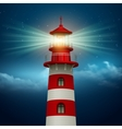Realistic lighthouse in the night sky background vector image vector image