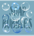 realistic soap bubble on blue background with text vector image vector image