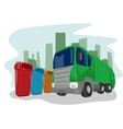 Recycling truck picking up bins vector image