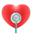 red heart with stethoscope use for heart medical vector image vector image