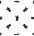 rock and roll hand sign pattern seamless black vector image vector image