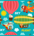 seamless pattern air transports with animals vector image vector image