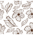 seamless pattern of hibiscus flower in tattoo vector image