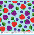 seamless pattern with forest berries and leaves vector image vector image