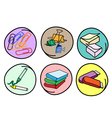 Set of School Supplies on Round Background vector image vector image