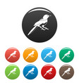 small magpie icons set color vector image