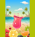 summer poster with fresh fruit and drinks vector image vector image