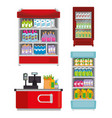 supermarket shelvings with register machine vector image vector image