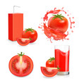 tomato fresh juice with splash and juice package vector image vector image