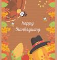 turkey pumpkin corn bee foliage wooden background vector image vector image