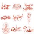 typography calligraphy on diwali holiday vector image