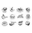 vegetables fruits and leaves vegan food icons vector image