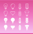 white lamp bulbs line and outline icons collection vector image