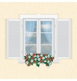white window with shutters and flowers vector image vector image
