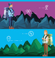 women tourists in camping zone vector image vector image