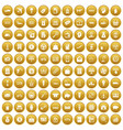 100 economy icons set gold vector image vector image