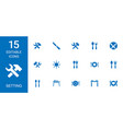 15 setting icons vector image vector image