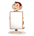 A monkey holding an empty framed banner vector image vector image