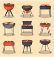 barbecue grill with food isolated set vector image vector image