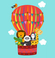 basic rgbposter funny animals fly in a balloon vector image vector image