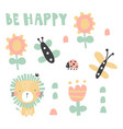 be happy lion set vector image vector image