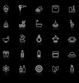 beauty line icons with reflect on black background vector image