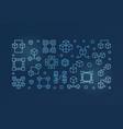 blockchain crypto blue linear vector image vector image