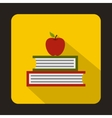 Books with apple icon flat style vector image vector image