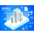 bright mobile phone and buildings on blue ba vector image vector image