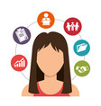 businesswoman with business icons vector image