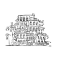 cartoon grayscale town vector image vector image