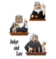 Cartoon judge characters vector image vector image