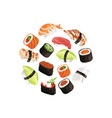 cartoon sushi types circle concept vector image vector image