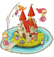Castle and children vector image vector image