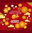chinese new year rat clouds flowers papercut vector image vector image