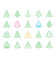 christmas tree simple color line icons set vector image