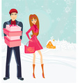 couple on Christmas shopping vector image