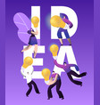 creative idea light bulb character business banner vector image