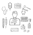Doctor therapist with medical sketch icons vector image vector image