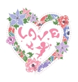 Floral frame in shape of heart vector image
