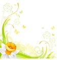 Floral summer background with daffodil flower vector image vector image