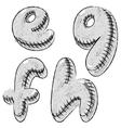 Grunge charcoal doodle font letters EFGH vector image vector image
