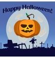 Halloween pumpkin with green leaf vector image