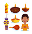 happy diwali festival of lights set icons vector image